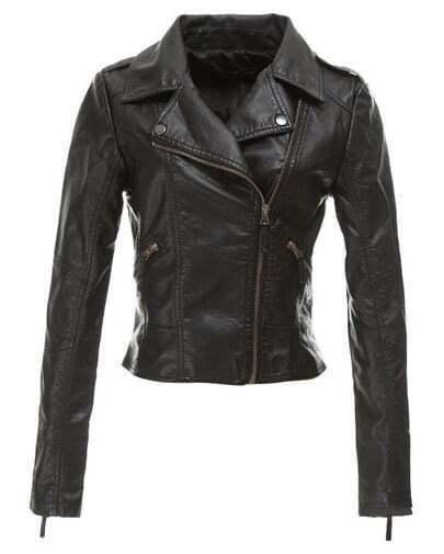 schmale Jacke aus weichem PU-Leder, schwarz