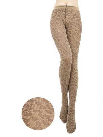 Leopard Jacquard Coffee Tights