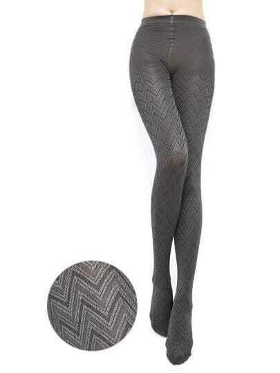 Modern Curve Pattern Jacquard Grey Tights