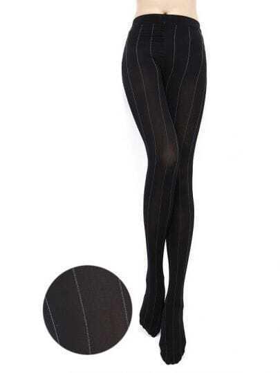 Vertical Striped Black Tights