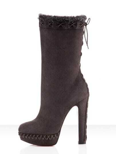 140mm Suede Boots Dark Grey