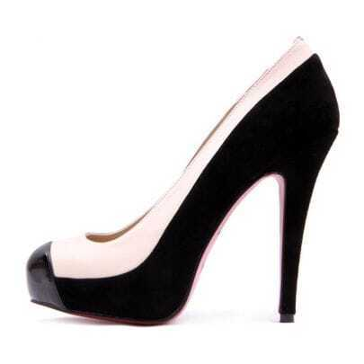 White and Black Stitching Pump