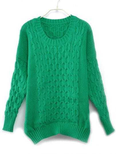 Vintage Knitting Loose Round Neck Green Pullover