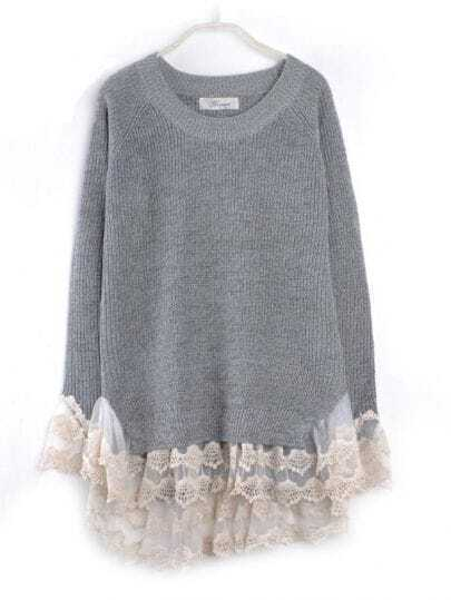 Lace Hem Stitching Pullover Grey