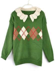 Vintage Wave Lapel Diamond Pattern Sweater Green