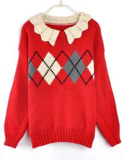 Vintage Wave Lapel Diamond Pattern Sweater Red