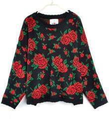 Rose Pattern Loose Sweater