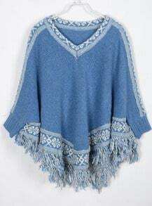 Blue V-neck Tribal Fringes Hem Sweater Capes