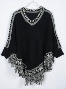 Black V-neck Tribal Fringes Hem Sweater Capes