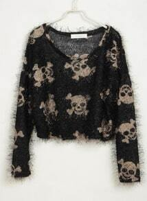Skull Printed Soft Sweater