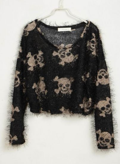 Skull Printed Soft Sweater
