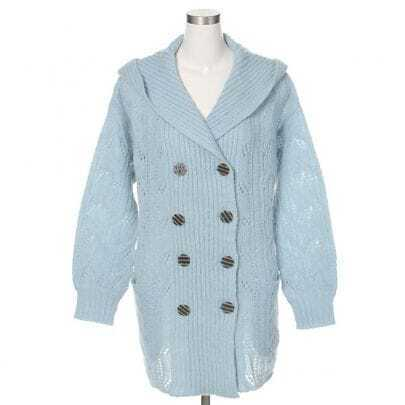 Double-breasted Hollow Cannabis Hooded Cardigan Blue