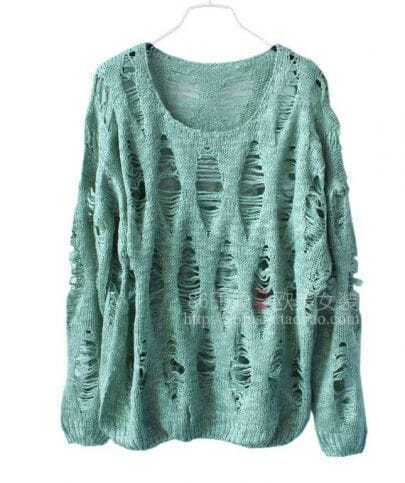 Vintage Green hollow Sweater