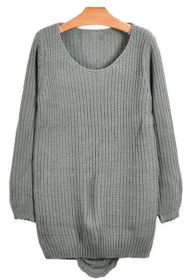 Back Hole Grey Simple Sweater
