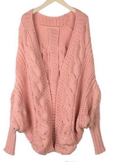 Pink Batwing Cape Cardigan Loose Sweater
