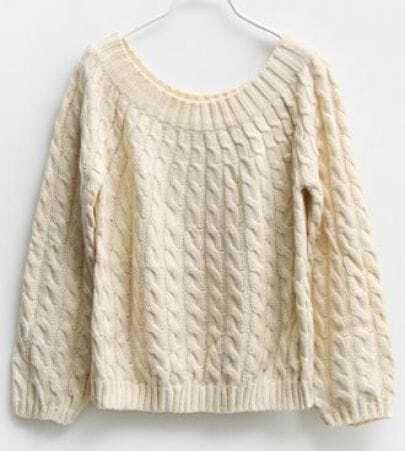 Beige Cannabis Vintage Short Sweater