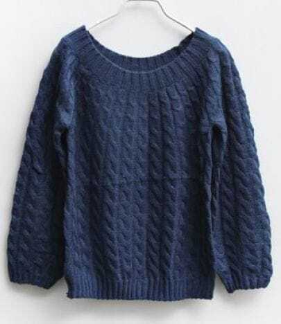 Dark Blue Cannabis Vintage Short Sweater