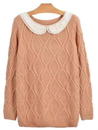 Vintage Lace Collar Pink Sweater