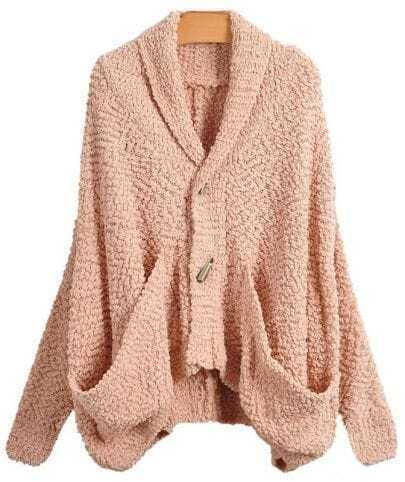 Soft Bat Sleeve Pink Cardigan