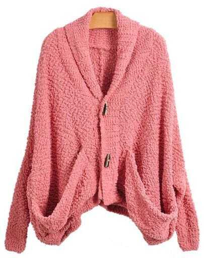 Soft Bat Sleeve Rose Red Cardigan