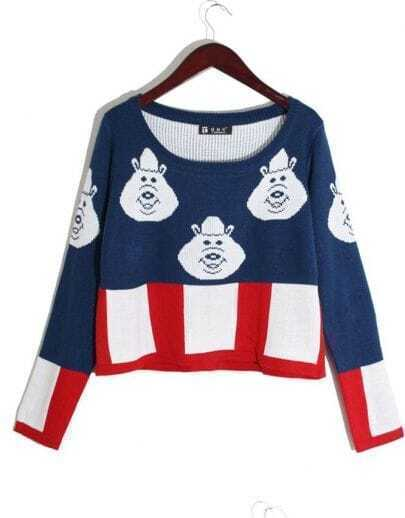 Cartoon Pattern Short Pullover