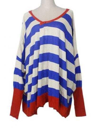 Blue White Stripes Bat Sweater
