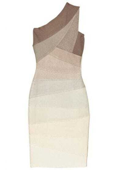 Asymmetric ombre bandage dress H003X