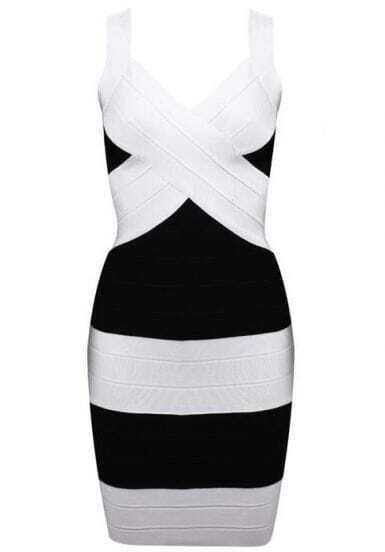 Black and White Bandage Dress H008H