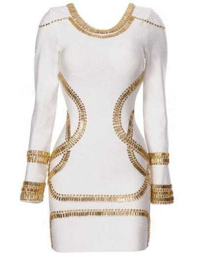 Sass Bide Embellished Jersey White Dress H02B