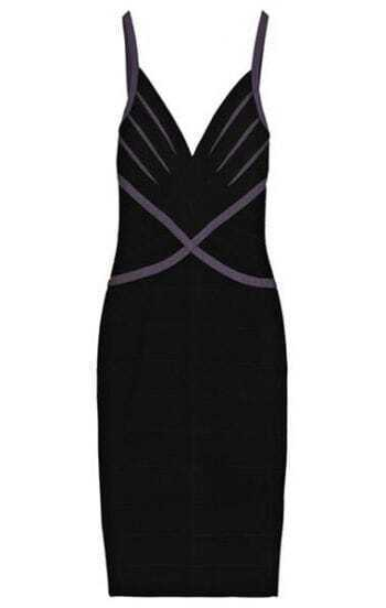 Contrast-Insert Bandage Dress H085H