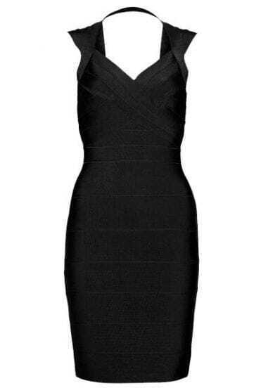 Open Back Bandage Dress Black H092H