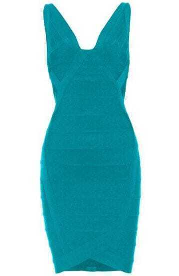V-neck Bandage Dress Blue H148G