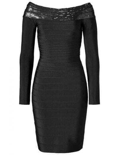 Sequin Long-sleeve Bandage Dress H14H