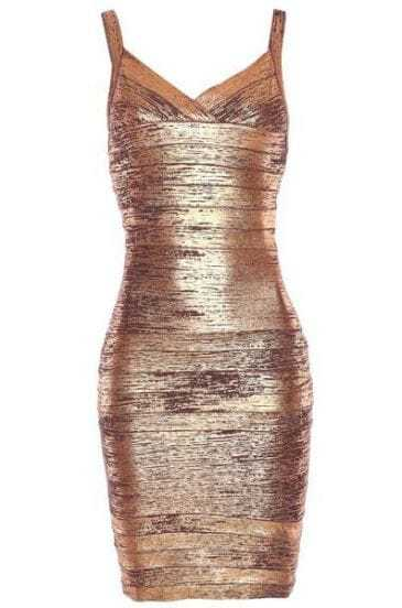 Thin Strap Woodgrain Foil Print Dress H168Z4