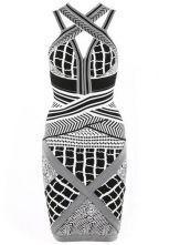 Geometric Jacquard Bandage Dress H199E