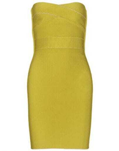 Yellow Strapless Bandage Dress H19Y
