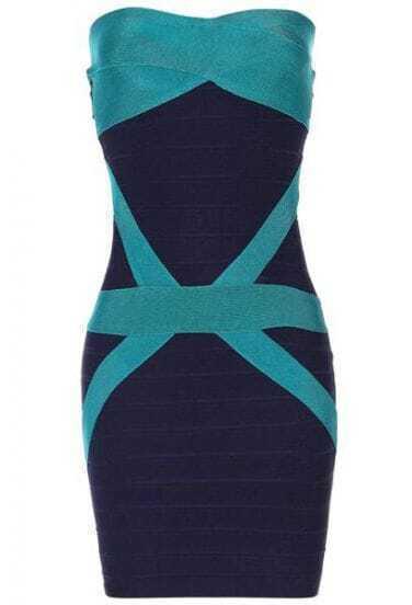 reen Deep Blue Strapless Dress H206L