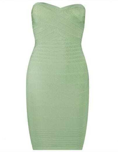 Strapless Bandage Dress Apple Green H22G