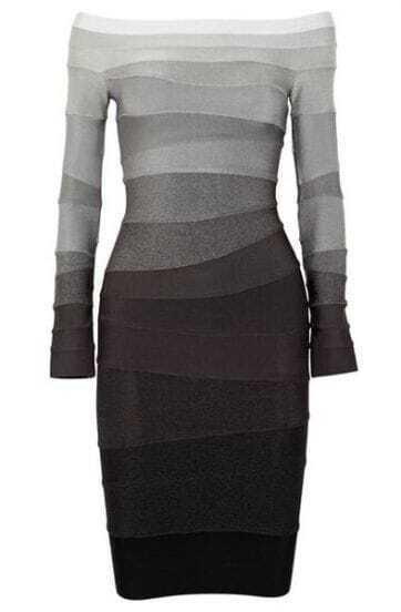 Ombre Off-The-Shoulder Bandage Dress H234W