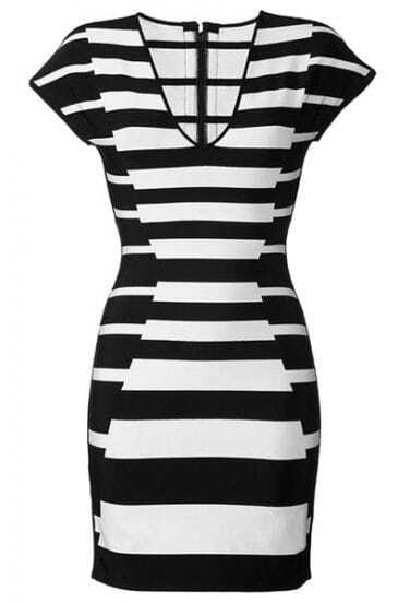Black and White Stripe Dress H236H