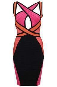Ginger Criss-Cross Colorblocked Dress H246R7