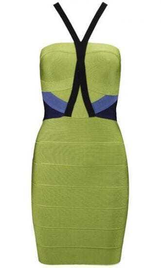 Colorblock Bandage Dress H262G