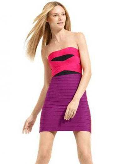 Strapless Color Blocked Bandage Dress H293P