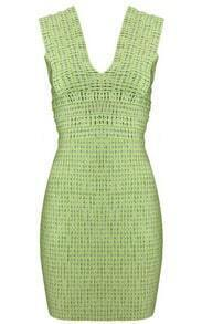 Abstract-Pattern Mini Dress Green T001G