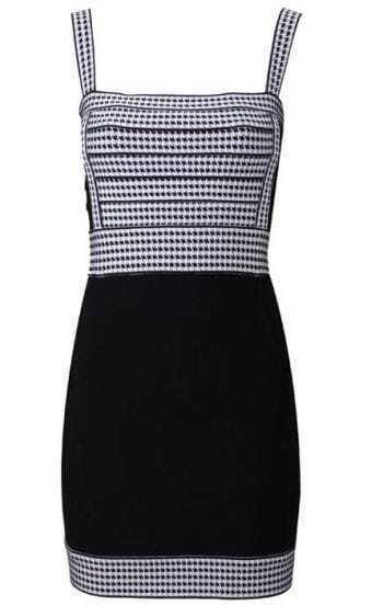 Halter Open Blackless Dress Grey White Black T002E