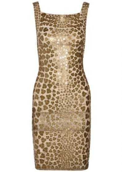 Pailette-Embellished Bandage Dress H40J