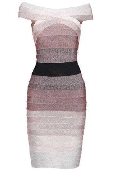 Ombre Bandage Dress Coffe H001Z1