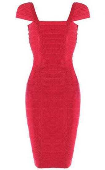 Boat Neck Dress Red H002R