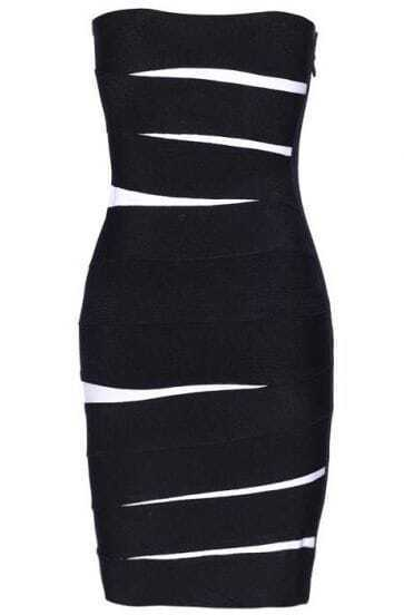 Low-cut Dress Black H004E