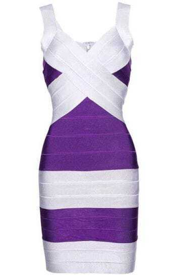 Purple and Silver Bandage Dress H008E